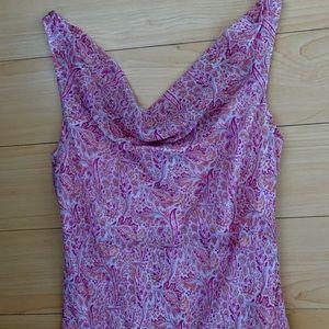Ann Taylor Pink Paisley High Low Silk Dress